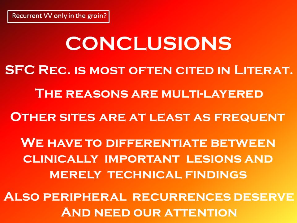 CONCLUSIONS SFC Rec. is most often cited in Literat.