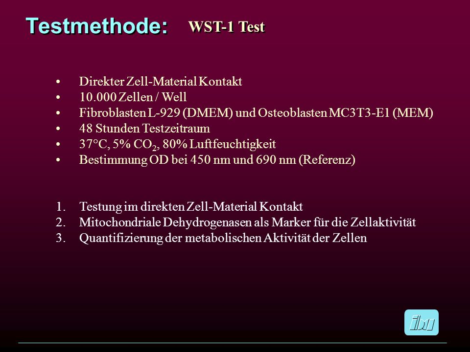 Testmethode: WST-1 Test Direkter Zell-Material Kontakt