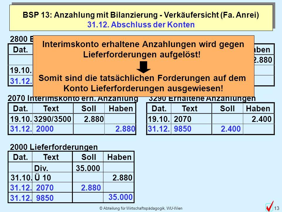 BSP 13: Anzahlung mit Bilanzierung - Verkäufersicht (Fa. Anrei)