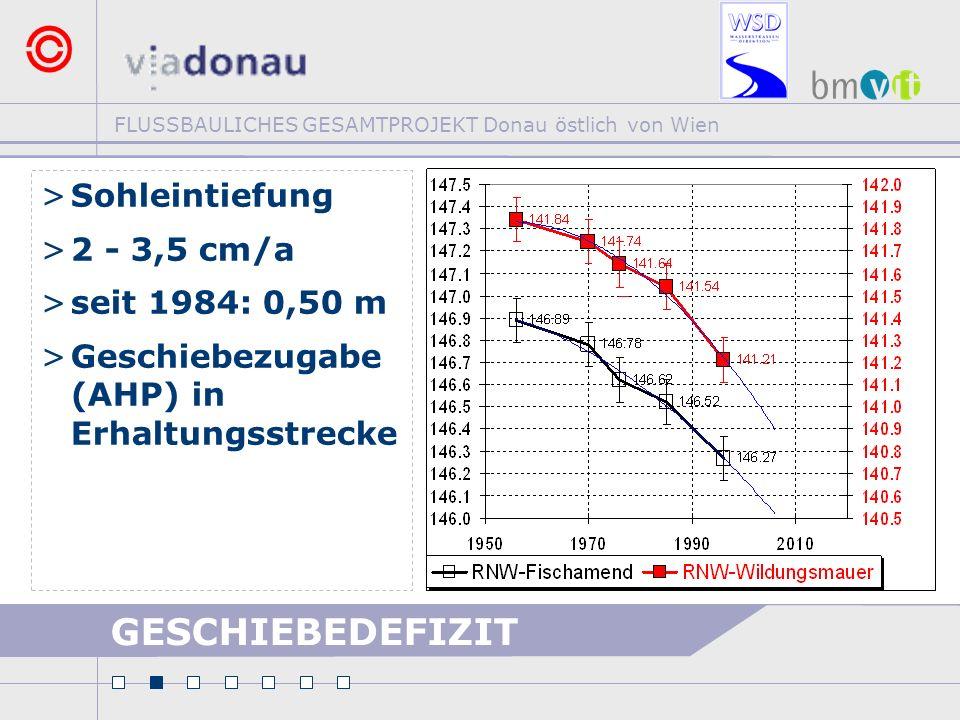 GESCHIEBEDEFIZIT Sohleintiefung 2 - 3,5 cm/a seit 1984: 0,50 m