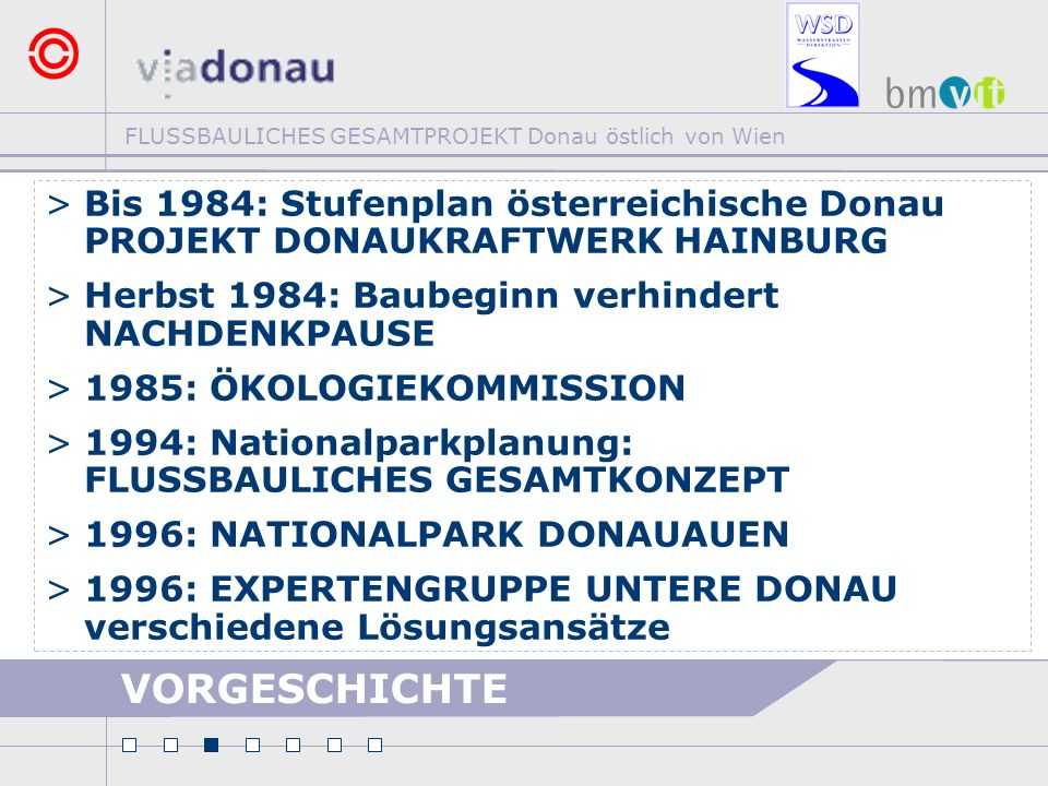 Bis 1984: Stufenplan österreichische Donau PROJEKT DONAUKRAFTWERK HAINBURG