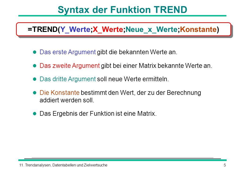 Syntax der Funktion TREND