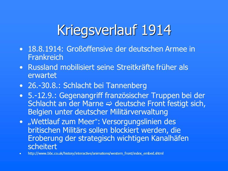 Kriegsverlauf 1914 18.8.1914: Großoffensive der deutschen Armee in Frankreich. Russland mobilisiert seine Streitkräfte früher als erwartet.