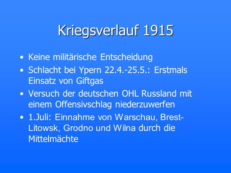 Kriegsverlauf 1915 Keine militärische Entscheidung