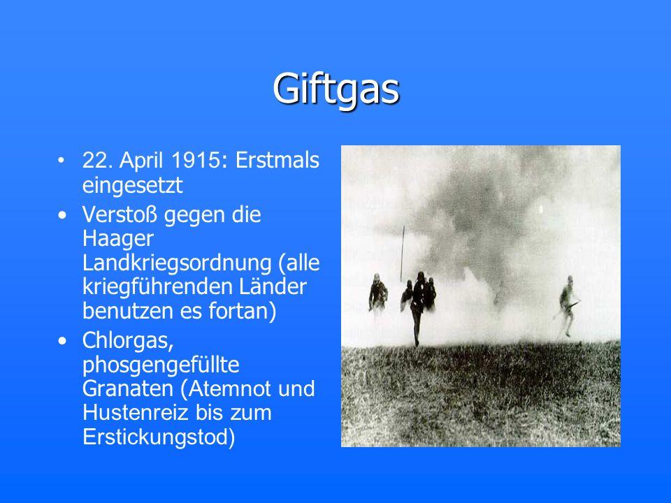 Giftgas 22. April 1915: Erstmals eingesetzt