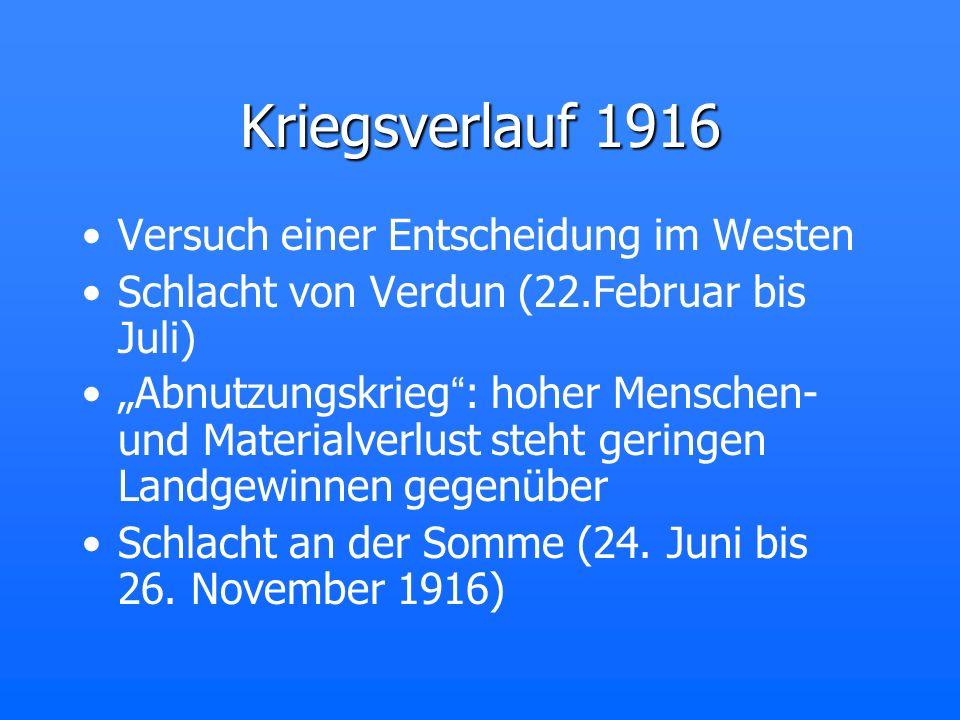 Kriegsverlauf 1916 Versuch einer Entscheidung im Westen