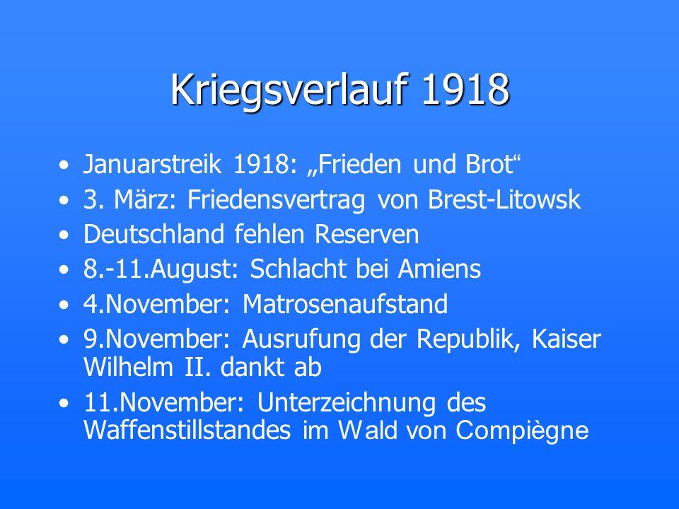 """Kriegsverlauf 1918 Januarstreik 1918: """"Frieden und Brot"""