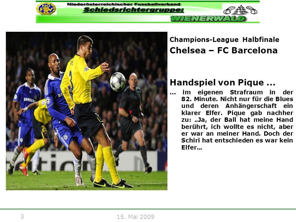 Chelsea – FC Barcelona Handspiel von Pique ...