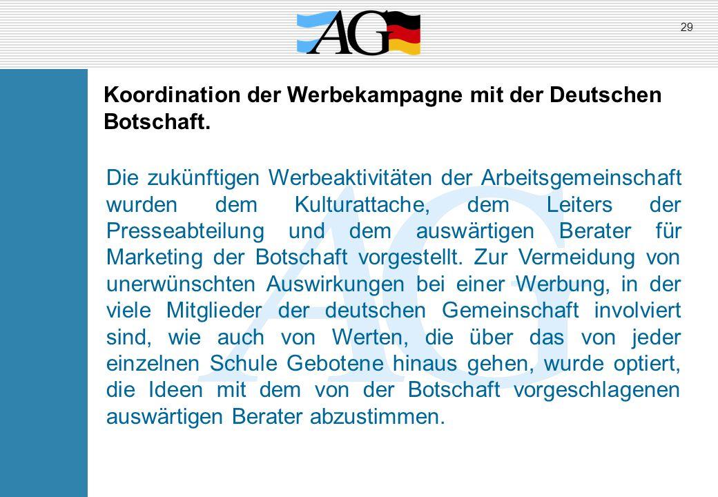 Koordination der Werbekampagne mit der Deutschen Botschaft.
