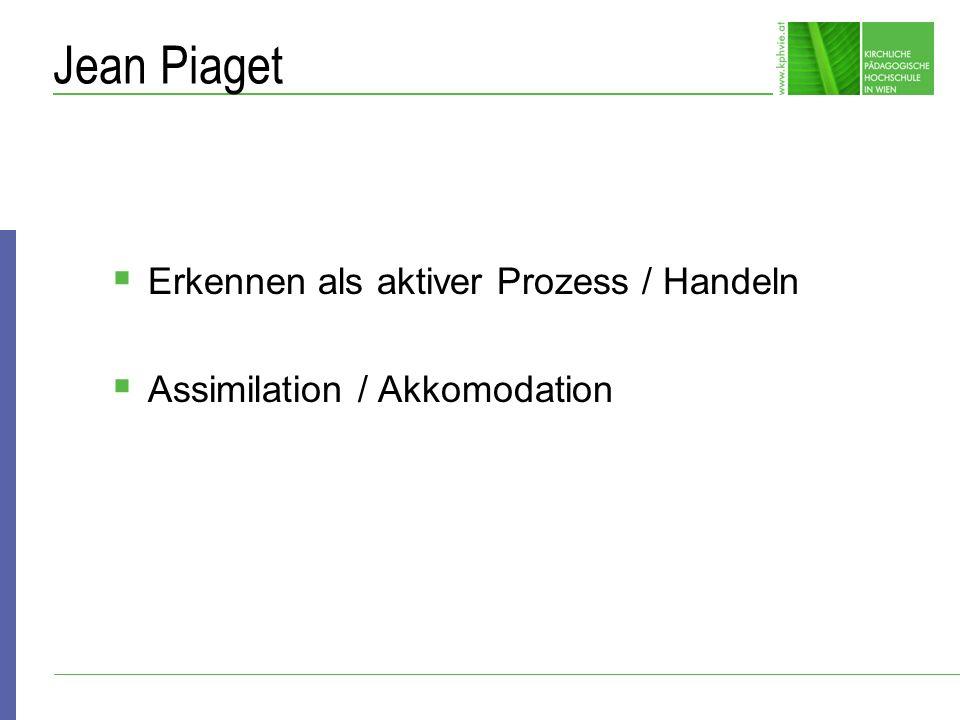 Jean Piaget Erkennen als aktiver Prozess / Handeln