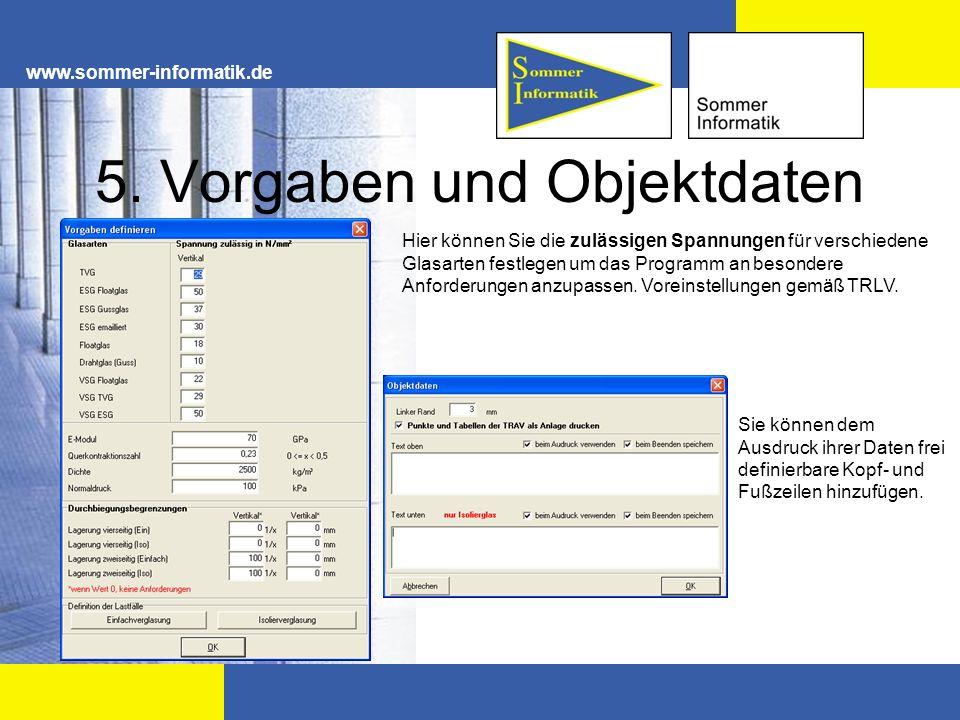 5. Vorgaben und Objektdaten