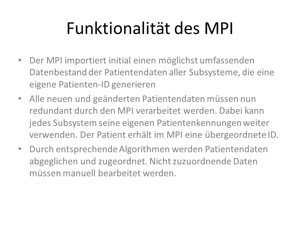 Funktionalität des MPI