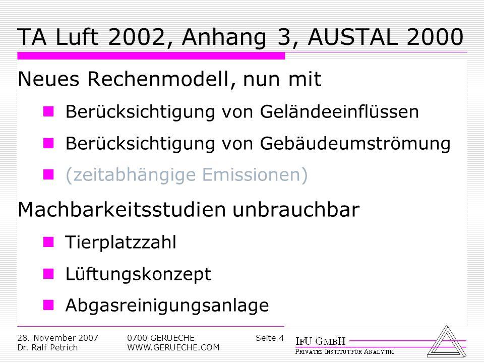 TA Luft 2002, Anhang 3, AUSTAL 2000 Neues Rechenmodell, nun mit