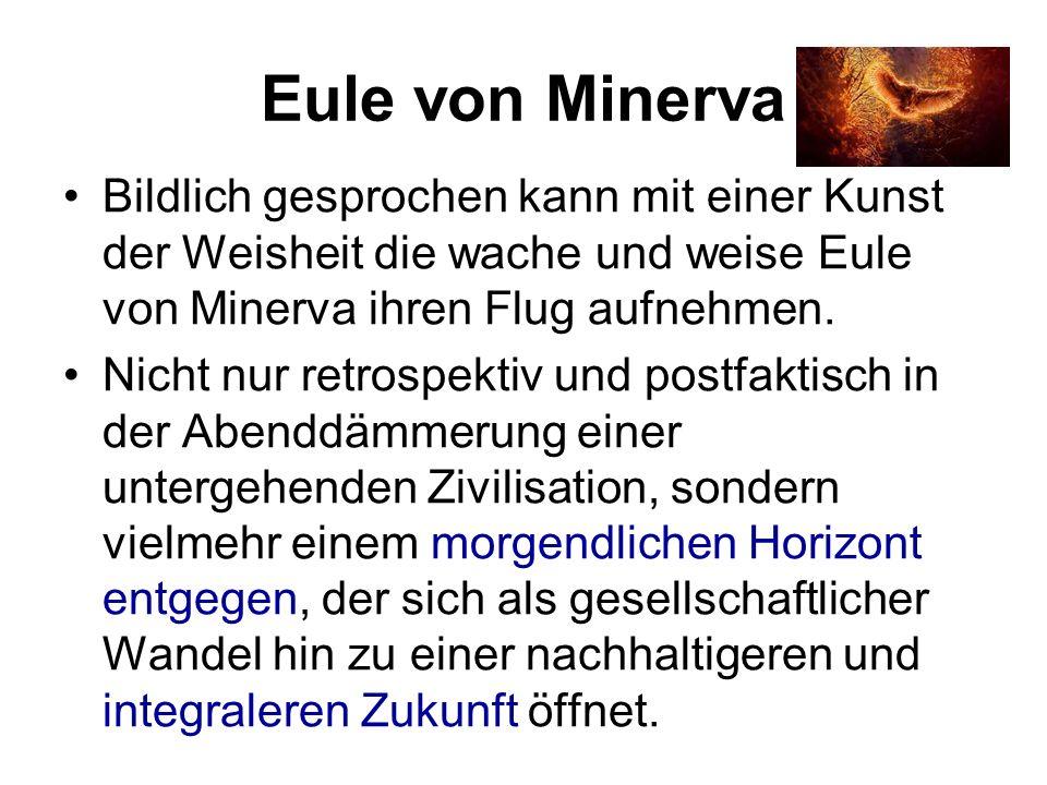 Eule von Minerva Bildlich gesprochen kann mit einer Kunst der Weisheit die wache und weise Eule von Minerva ihren Flug aufnehmen.