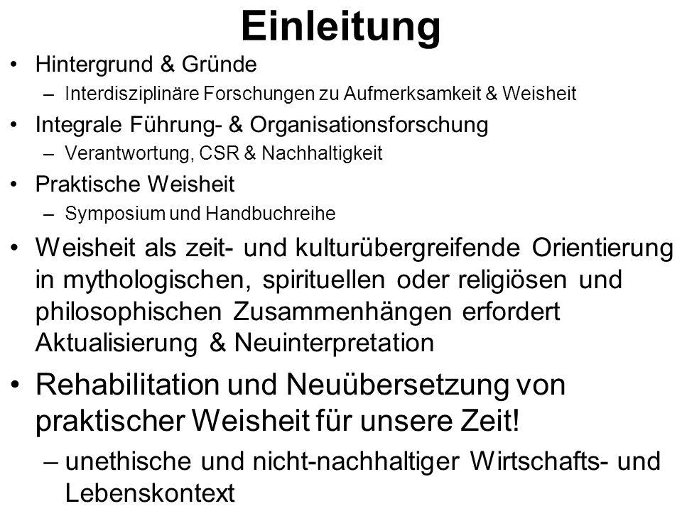 Einleitung Hintergrund & Gründe. Interdisziplinäre Forschungen zu Aufmerksamkeit & Weisheit. Integrale Führung- & Organisationsforschung.