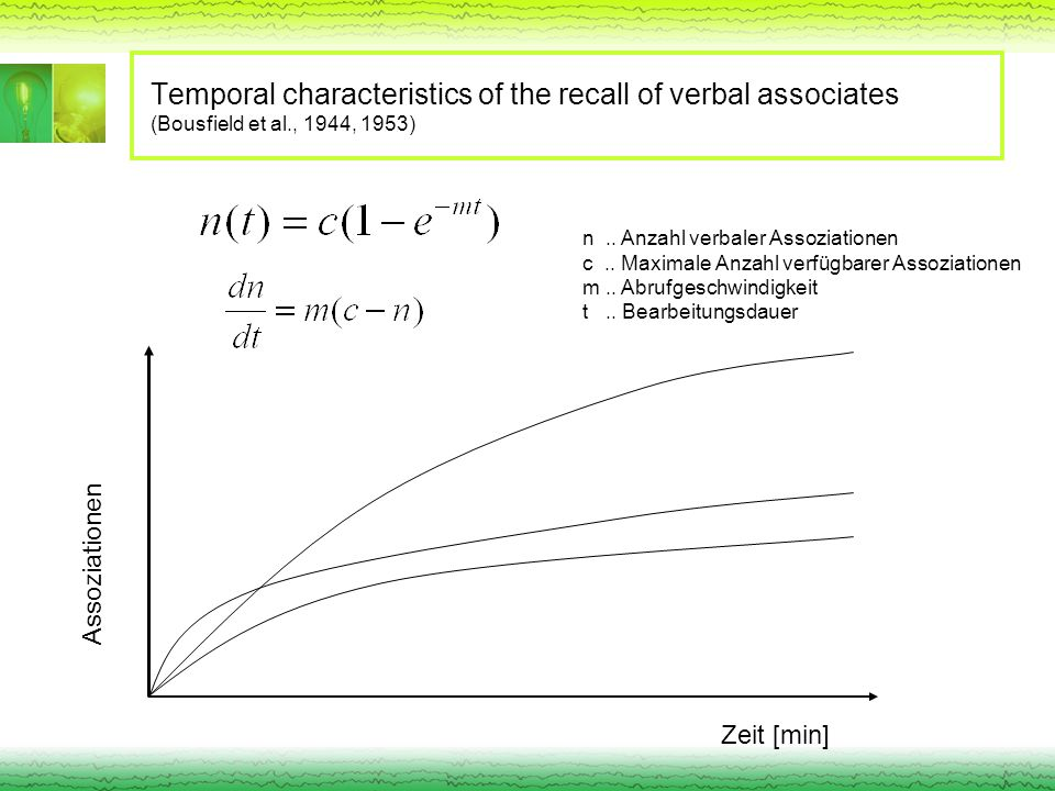 Temporal characteristics of the recall of verbal associates (Bousfield et al., 1944, 1953)