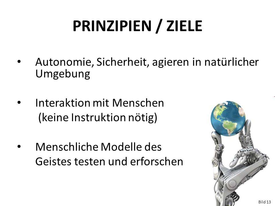 PRINZIPIEN / ZIELE Autonomie, Sicherheit, agieren in natürlicher Umgebung. Interaktion mit Menschen.