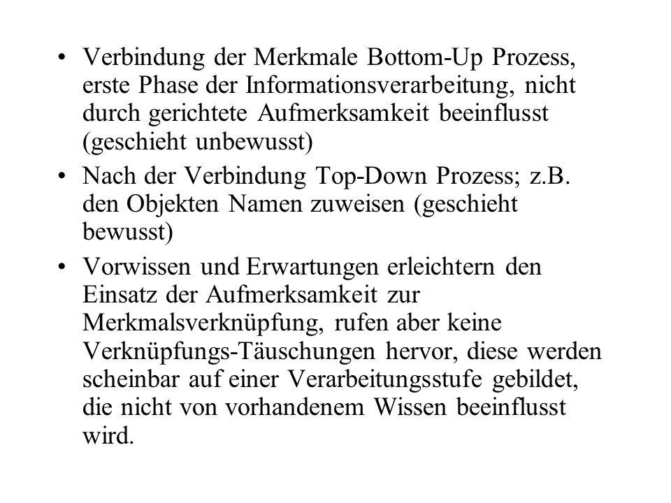 Verbindung der Merkmale Bottom-Up Prozess, erste Phase der Informationsverarbeitung, nicht durch gerichtete Aufmerksamkeit beeinflusst (geschieht unbewusst)