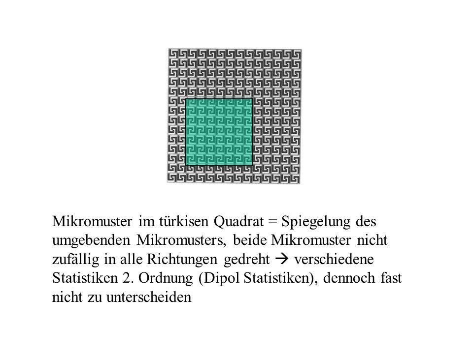 Mikromuster im türkisen Quadrat = Spiegelung des umgebenden Mikromusters, beide Mikromuster nicht zufällig in alle Richtungen gedreht  verschiedene Statistiken 2.