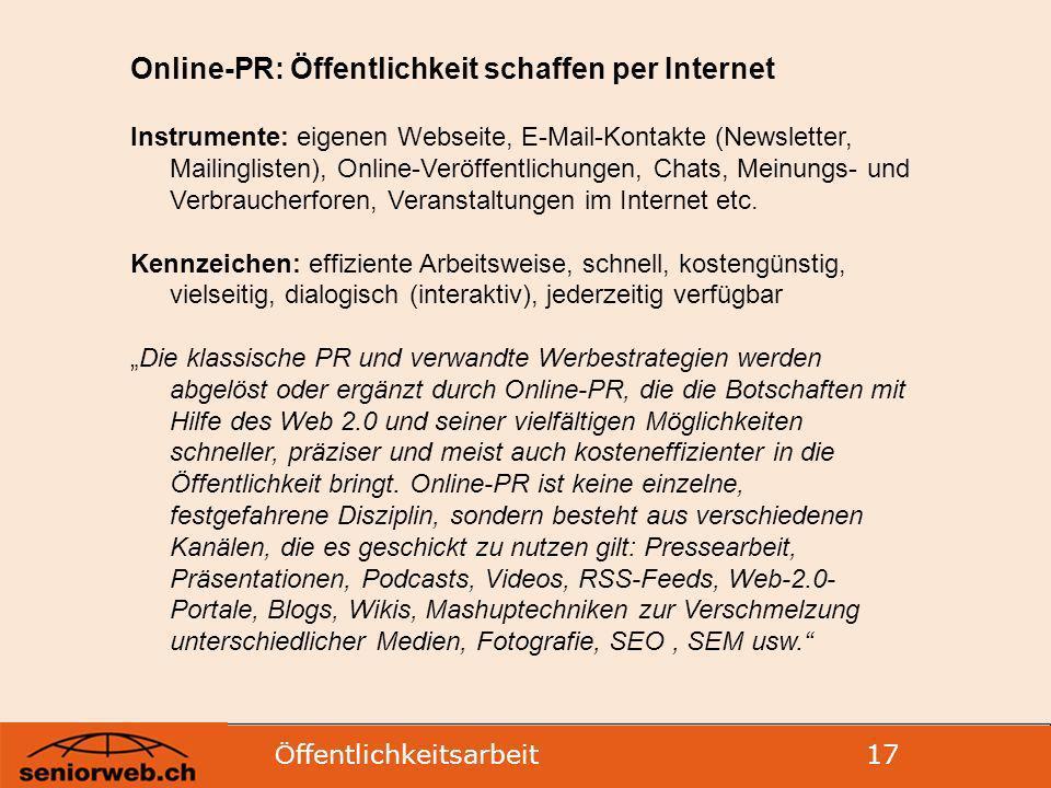 Online-PR: Öffentlichkeit schaffen per Internet