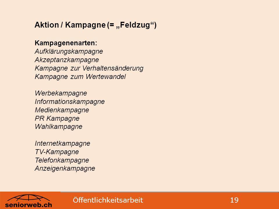"""Aktion / Kampagne (= """"Feldzug )"""