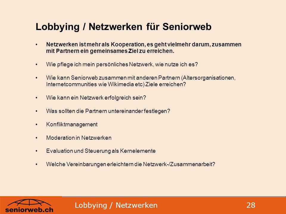Lobbying / Netzwerken für Seniorweb