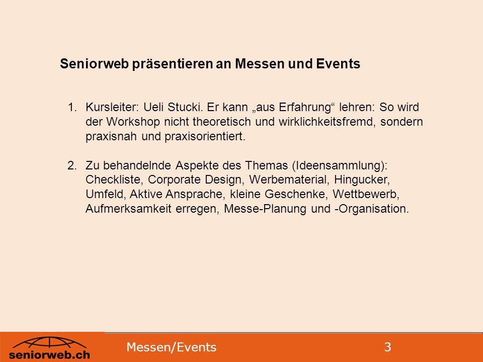 Seniorweb präsentieren an Messen und Events