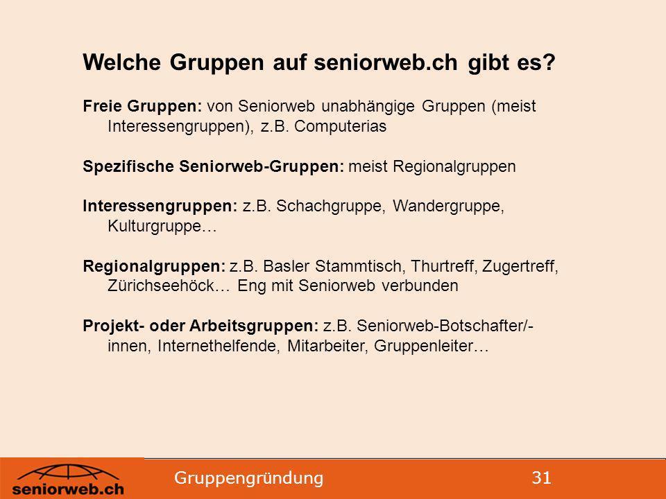 Welche Gruppen auf seniorweb.ch gibt es