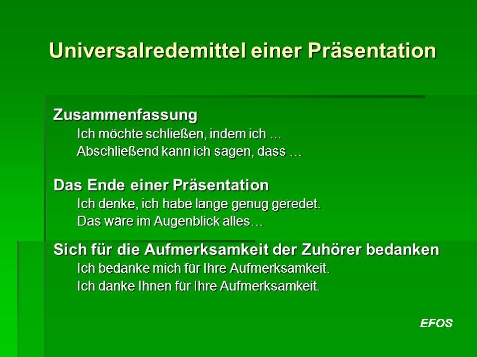 Universalredemittel einer Präsentation