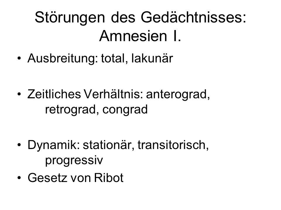 Störungen des Gedächtnisses: Amnesien I.