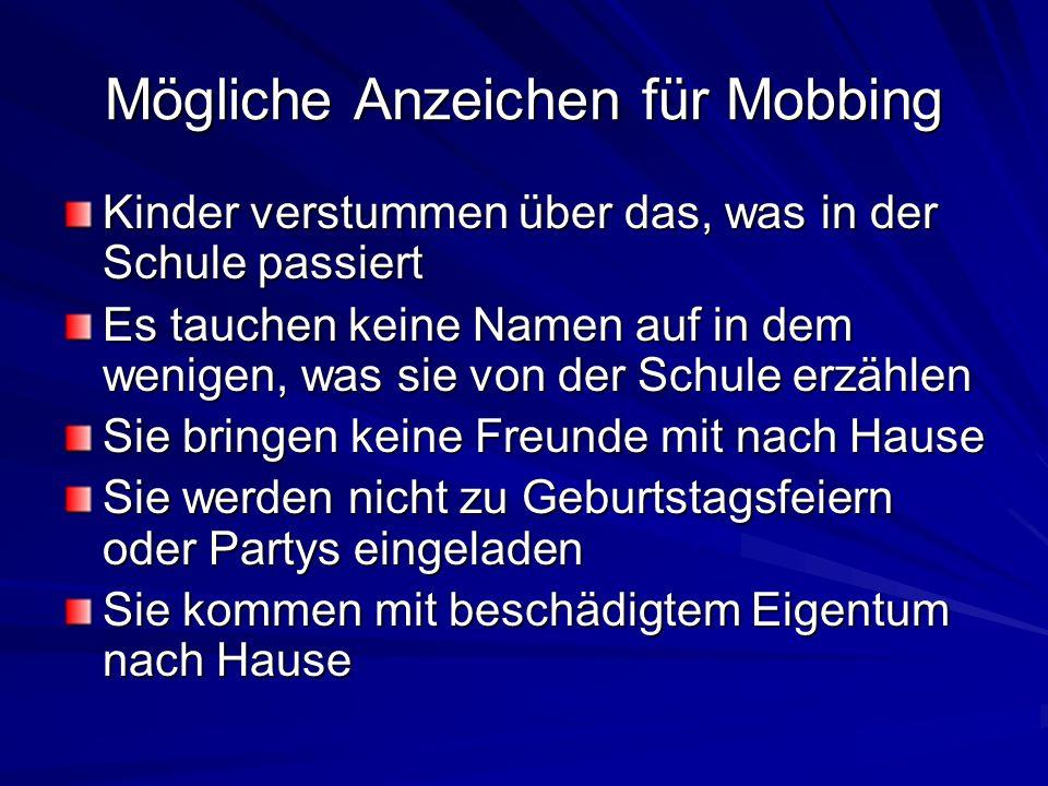 Mögliche Anzeichen für Mobbing