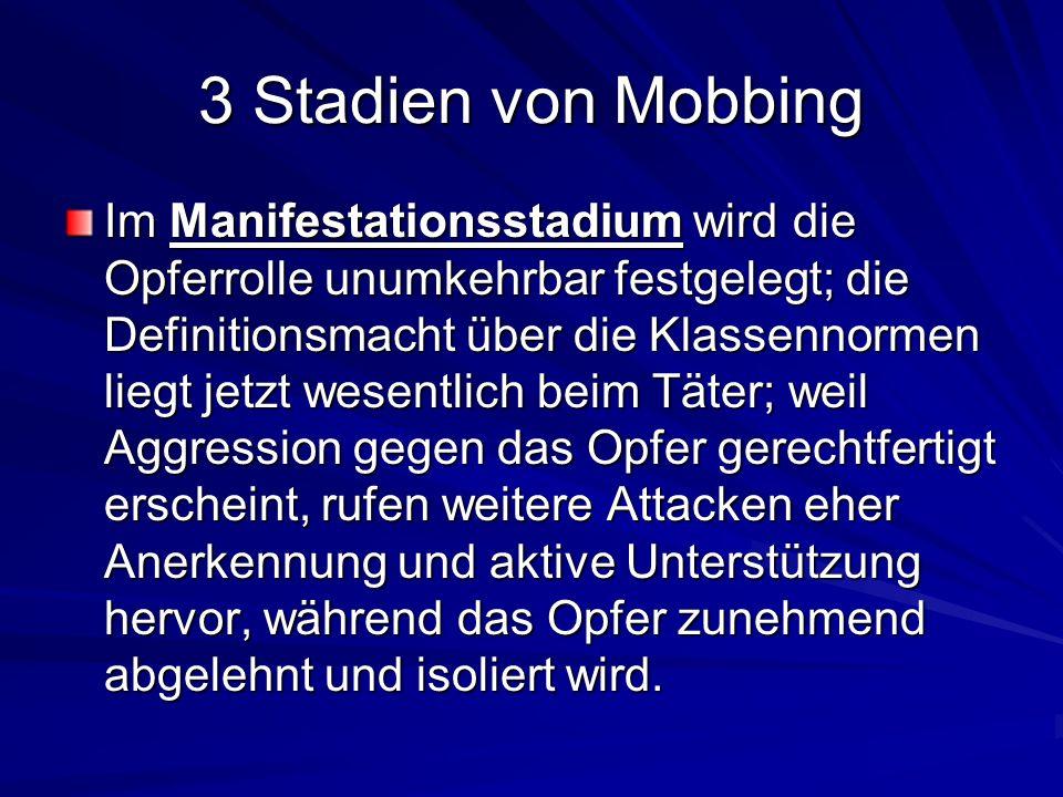 3 Stadien von Mobbing