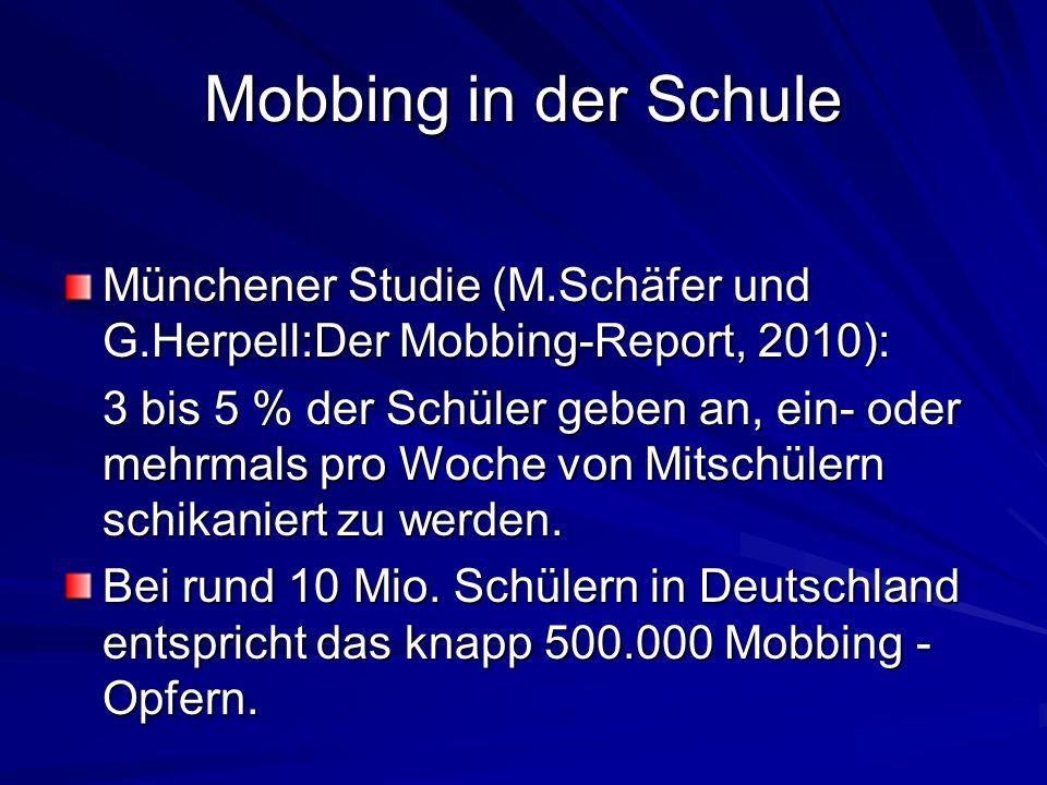Mobbing in der Schule Münchener Studie (M.Schäfer und G.Herpell:Der Mobbing-Report, 2010):