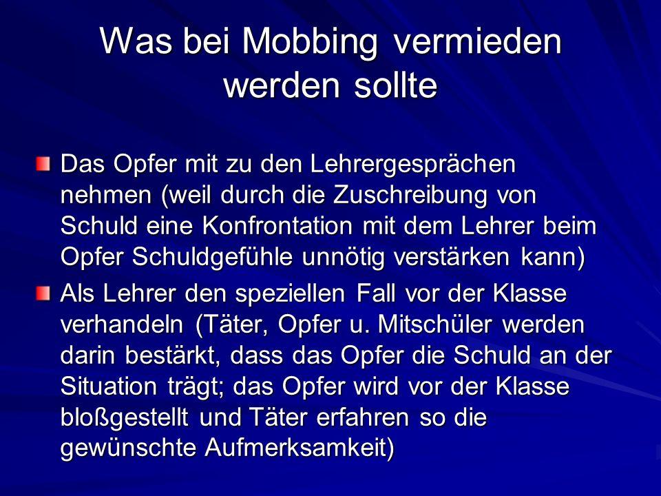 Was bei Mobbing vermieden werden sollte