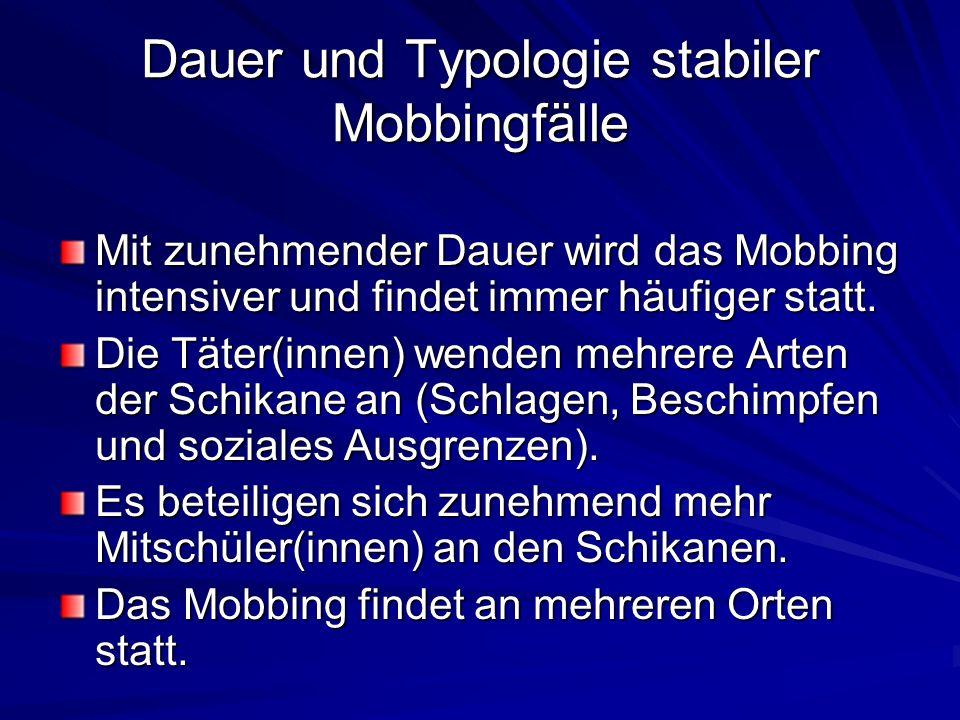 Dauer und Typologie stabiler Mobbingfälle