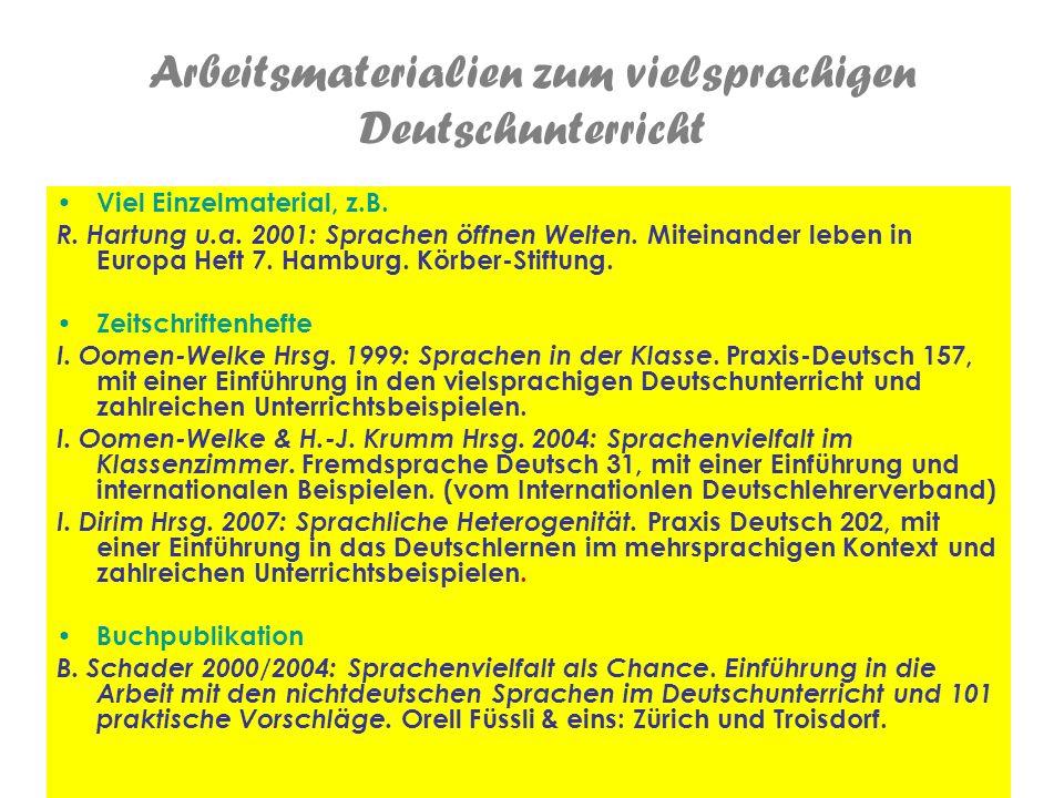 Arbeitsmaterialien zum vielsprachigen Deutschunterricht
