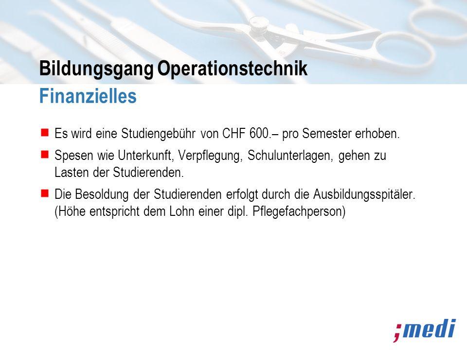 Bildungsgang Operationstechnik Finanzielles