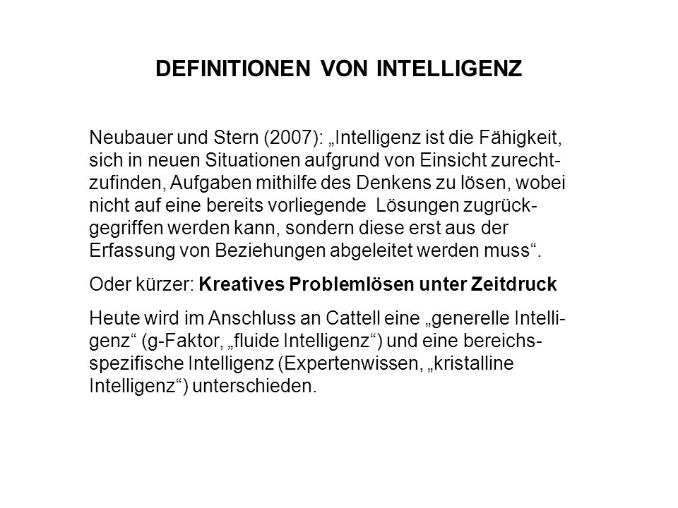 DEFINITIONEN VON INTELLIGENZ