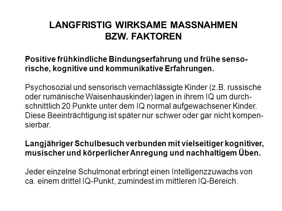 LANGFRISTIG WIRKSAME MASSNAHMEN BZW. FAKTOREN