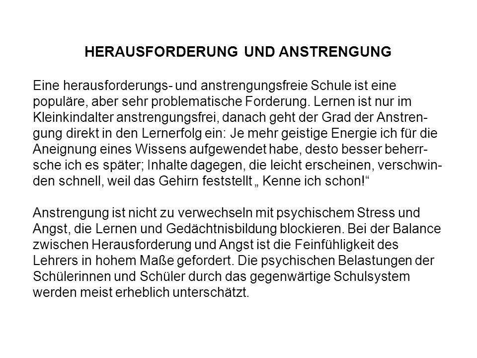 HERAUSFORDERUNG UND ANSTRENGUNG