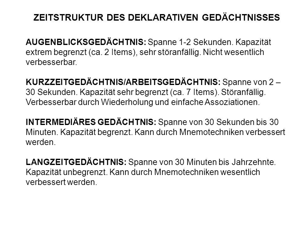 ZEITSTRUKTUR DES DEKLARATIVEN GEDÄCHTNISSES