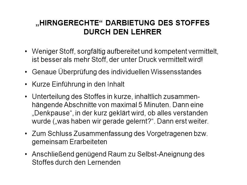 """""""HIRNGERECHTE DARBIETUNG DES STOFFES DURCH DEN LEHRER"""