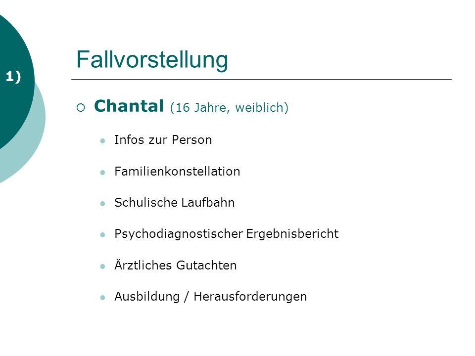 Fallvorstellung Chantal (16 Jahre, weiblich) 1) Infos zur Person