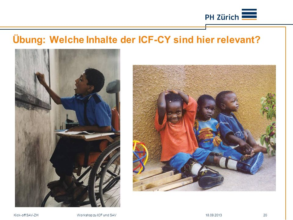 Übung: Welche Inhalte der ICF-CY sind hier relevant