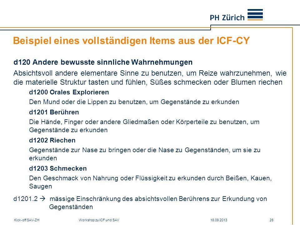 Beispiel eines vollständigen Items aus der ICF-CY