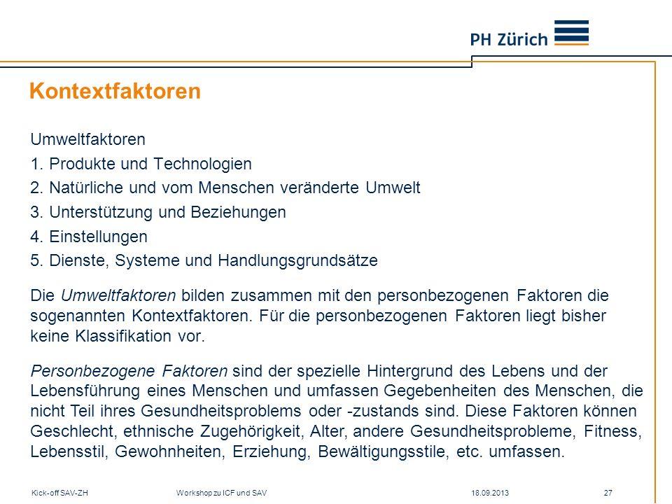Kontextfaktoren Umweltfaktoren 1. Produkte und Technologien