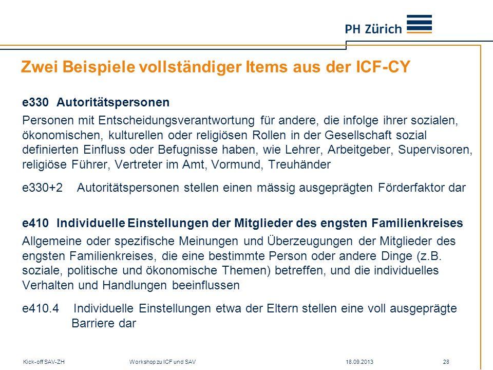 Zwei Beispiele vollständiger Items aus der ICF-CY