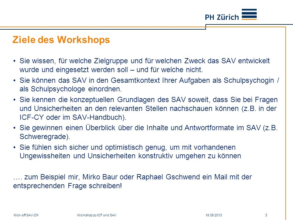 Ziele des Workshops