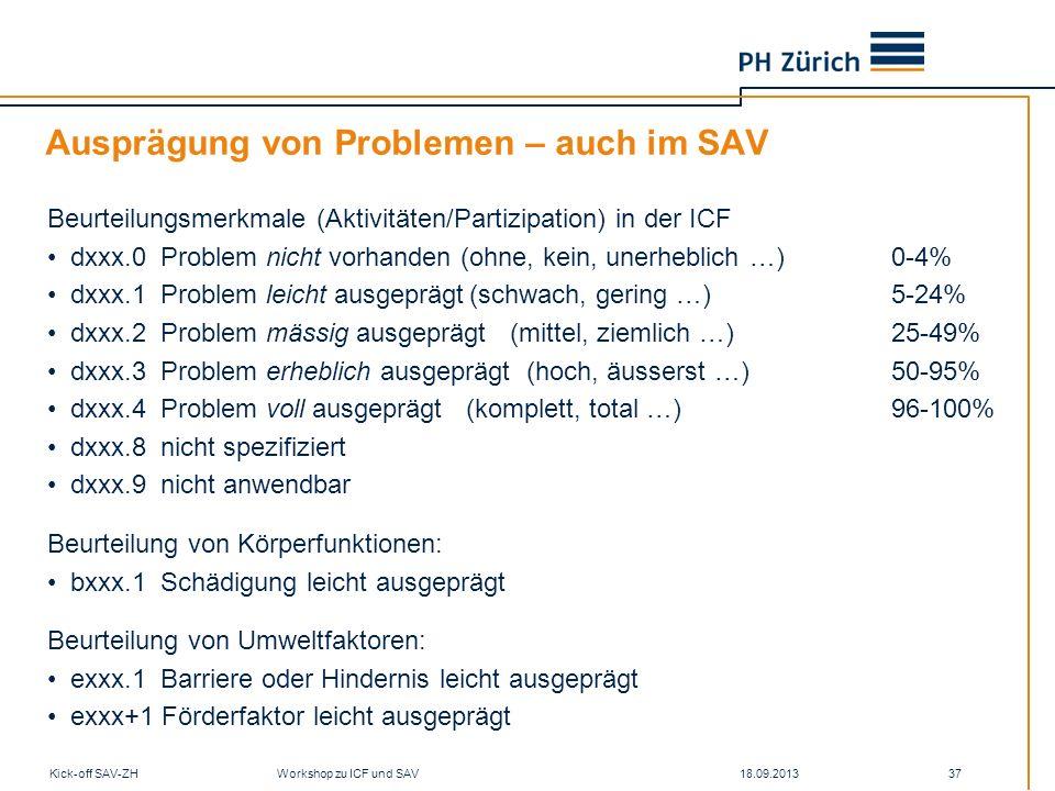 Ausprägung von Problemen – auch im SAV
