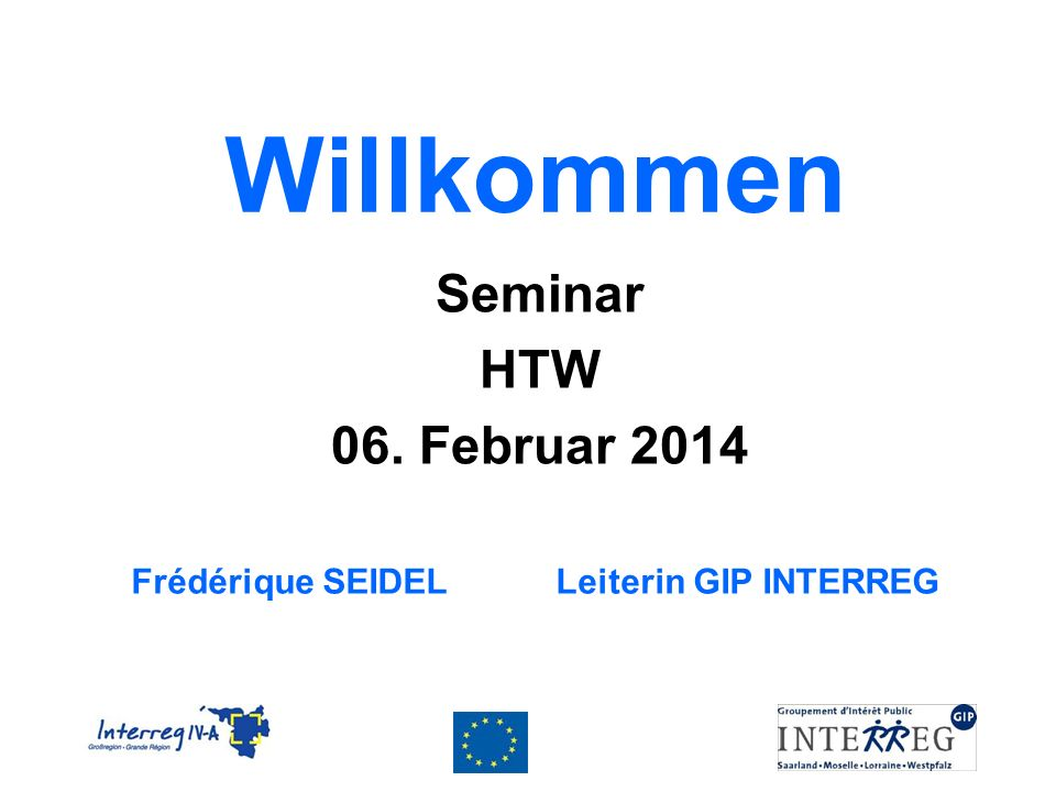 Willkommen Seminar HTW 06. Februar 2014